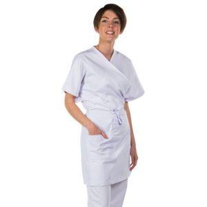 2435 : Blouse kimono - blanche - 1 poche - manches courtes - taille unique
