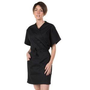 2435 : Blouse kimono - noire - 1 poche - manches courtes - taille unique